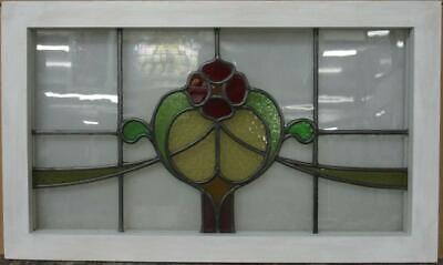 "OLD ENGLISH LEAD STAINED GLASS WINDOW TRANSOM Pretty Floral Swag 29.5"" x 17.75"""
