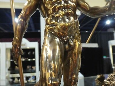 Muscled Nude Male Statue Bronze Sculpture Fish Spear Greek God - NEW$140
