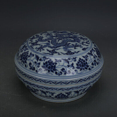 "9"" China antique porcelain Ming xuande guan kiln blue white Twining Lotus box"