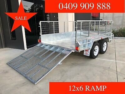 12x6 Tandem Trailer Galvanised with 1.5m Ramp 600mm Cage 2000kgs ATM New Tyres