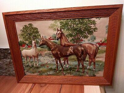 "Old Vintage Quilted Trapunto 3D Horses Scene Picture Framed 16""x 12"" Cotton"