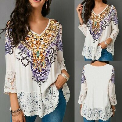 Women's Floral Lace Loose T Shirt Tops Ladies Boho Long Sleeve Casual Blouse Tee