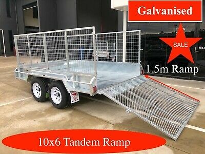 10x6 Tandem trailer galvanised trailer with 1.5m ramp and 600mm cage 2000kgs ATM