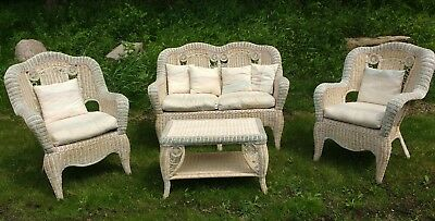 Unique White Wicker Furniture Set 4 Pc Loveseat Arm Chairs Coffee Table Cushions
