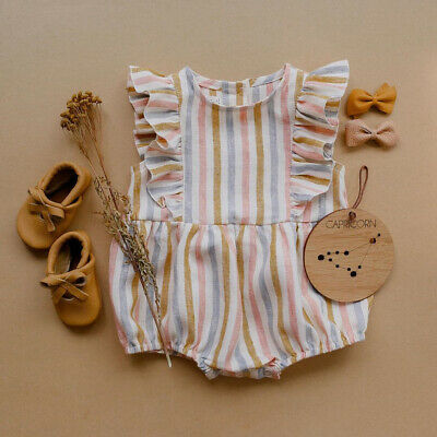 UK Newborn Kids Baby Girl Striped Jumpsuit Romper Crawling Suit Bodysuit Outfits