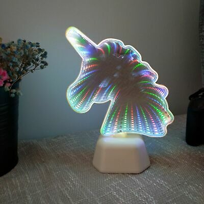 RGB Unicorn 3D LED Table Lamp Night Lights Bedroom Tunnel Model Party Decor Gift