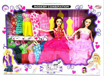 Modern Girls Fashion Dress Up Doll With Spare Clothes Play Set Toy Gift