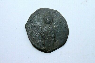 ANCIENT BYZANTINE BRONZE  FOLLIS COIN CHRIST 11/12th CENTURY AD GOD