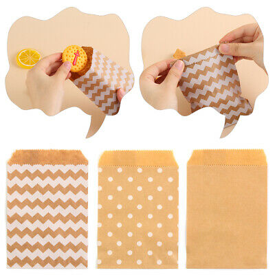 50Pcs Wave Dot Kraft Paper Bag Candy Biscuit Bags Packing Pouch Pastry Tool