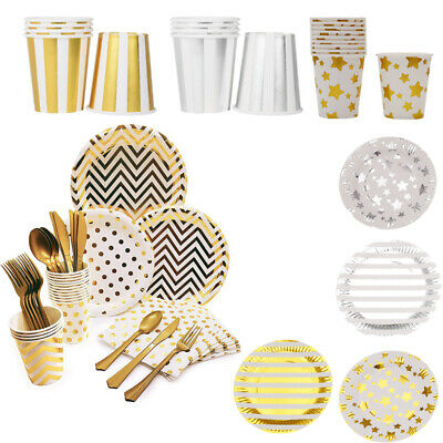 Foil Tableware Wedding Party Gold Disposable Star Stripes Paper Party Plates