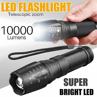 2pc Tactical 5 Modes LED Zoomable Flashlight Torch Lamp Emergency Super Bright