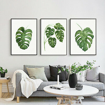 Watercolor Plants Green Leaves Canvas Art Posters Prints Home Wall Decoration