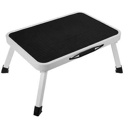 One Step Ladder With Folding Feet Utility Non Slip Compact Metal Step Stool