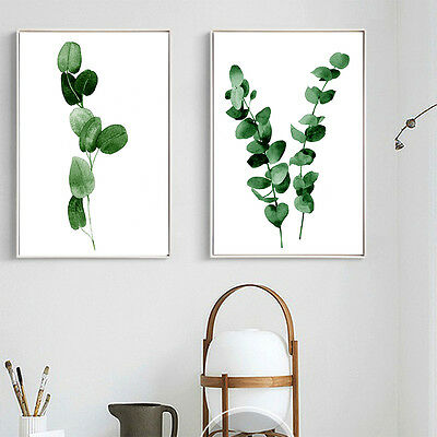 Watercolor Plants Leaves Canvas Poster Minimalist Wall Art Prints Nordic Style