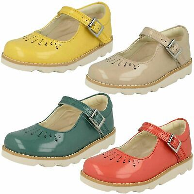 Clarks Girls Crown Jump Coral Blush or White Patent Leather Smart Shoes
