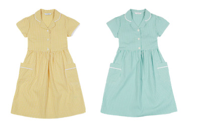 Ex Marks and Spencer School Kids Green Yellow Girls' Cotton Gingham Dresses (P63