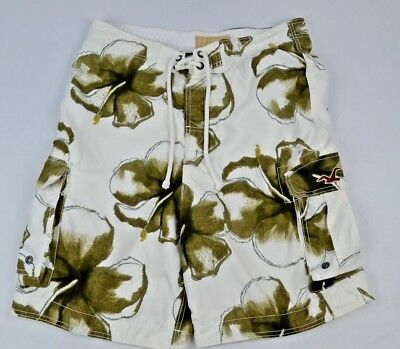 557d6a0f0a3db Hollister Mens Board Shorts Swim Trunks Bathing Suit Large White w Brown  Flowers