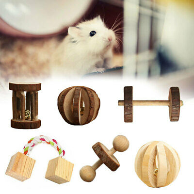 Wooden Ball Bell Exercise Pet Chew Toy for Hamster Hedgehog Mouse Rat Guinea Pig