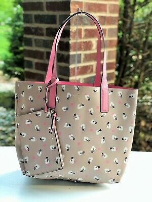 1c0cd1fc8881a Kate Spade Arch Place Mya Breezy Floral Ditsy Reversible Tote w/ Pouch Tan  Pink