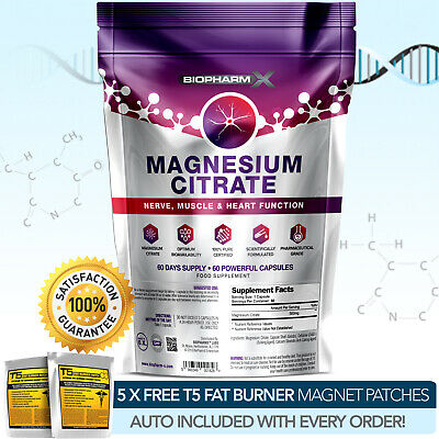 Magnesium Citrate -Strongest Pharma Grade -60 Capsules X 500Mg -Muscle Enhance++