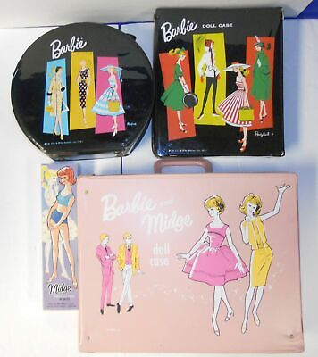 Mattel 1958 Barbie & 1962 Midge Dolls w/ 3 Doll Cases & Clothing