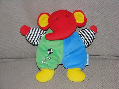 Eden Stuffed Plush Elephant Baby Toy Rattle Primary Color Lovey Kite Stripe