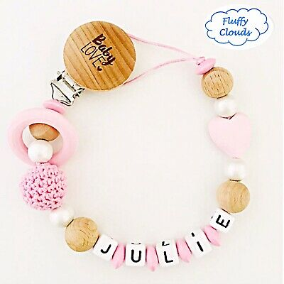 Personalized Dummy Clip Wooden Bead Pacifier Holder ~ Baby Girl ~ Super Chunky