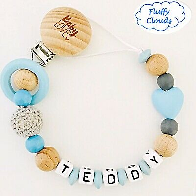 Personalized Dummy Clip Wooden Bead Pacifier Holder ~ Baby Boys ~ Super Chunky
