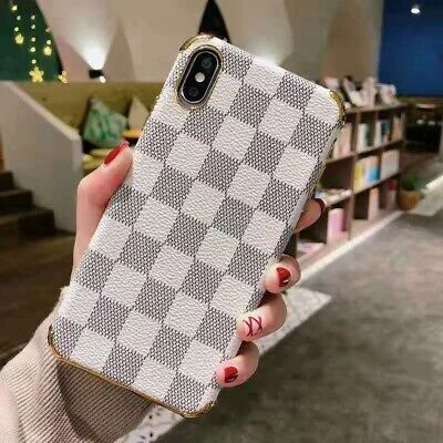 Luxury Plaid Lattice Leather Case Cover Shockproof for iPhone X S XR MAX 6 7 8