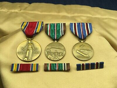 3 WWII Medals  & Ribbon Bars Victory Medal American Campaign & Euro African Mid