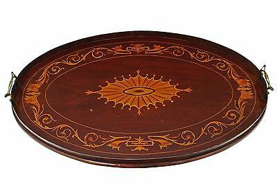 Antique Victorian quality inlaid mahogany oval serving tray tea