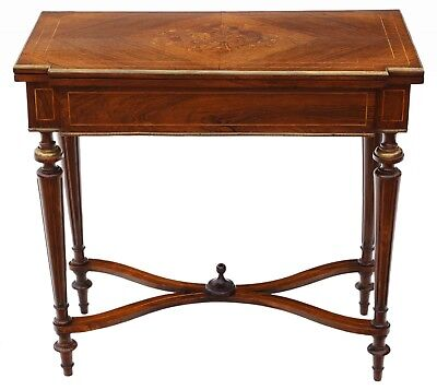 Antique quality 19th Century rosewood marquetry folding card or tea table