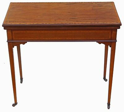 Antique quality Georgian revival C1910 inlaid mahogany folding card table