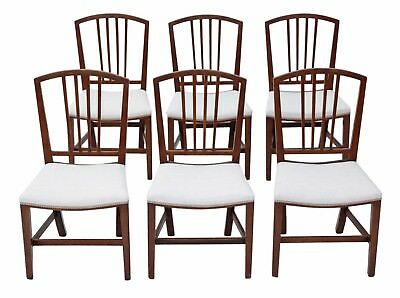 Antique set of 6 Victorian C1900 mahogany Georgian revival dining chairs