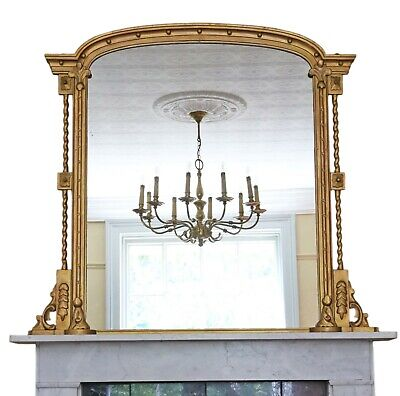 Antique large quality Regency gilt overmantle or wall mirror C1825
