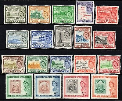 St. Kitts-Nevis 1954-63 Queen Elizabeth II set to $4.80, MNH (SG#106a/118)