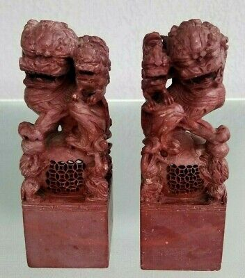 Pair Hard Stone Foo Dog Lion Statue Figurine With Baby Ornate Detailed China