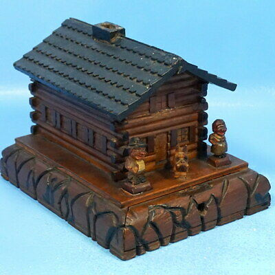 Antique Swiss Black Forest Wood Carving SAVINGS BANK CHALET CABIN Man Woman Dog