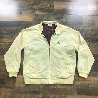 090440124f Vintage Izod Lacoste Harrington Jaune Plaid-Lined Léger Veste Taille Large