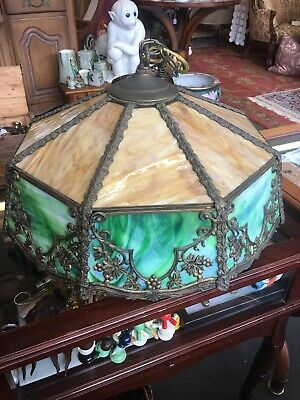Antique Brass And Slag Glass Hanging Lamp