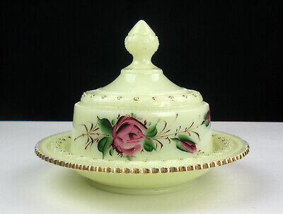Heisey Ring Band Custard Covered Butter Dish Roses Gold, Antique Ivorina Verde