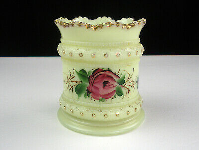 Heisey Ring Band Custard Open Sugar Roses Gold, Antique EAPG c1901 Ivorina Verde