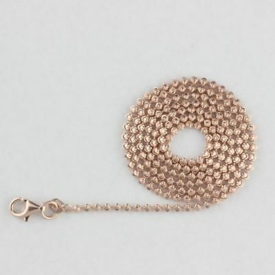 Unisex Solid 925 Sterling Silver Rose Gold Plated Chain Necklace Italy 2mm Width