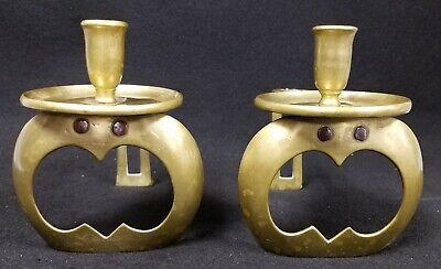 1887 Pair English Aesthetic Arts & Crafts Brass Chamber Candlesticks