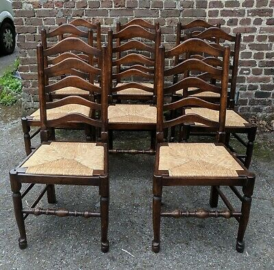 8 Vintage French Oak Ladder Back Dining Chairs, Rush Seats, VGC, Superb Quality