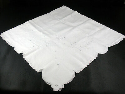 Vintage White Linen Butterfly & Floral Madeira Table Cloth, Vintage Square 51x52