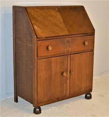 Old Oak Veneer Writing Desk Bureau With Key Drawer Cupboard Delivery Available