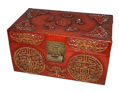 19C Chinese Red Lacquer on Leather Storage Box w. Butterfly & Bat Motifs (RgR)