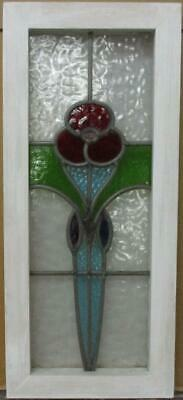 "MIDSIZE OLD ENGLISH LEADED STAINED GLASS WINDOW Stunning Flower 10.5"" x 24"""