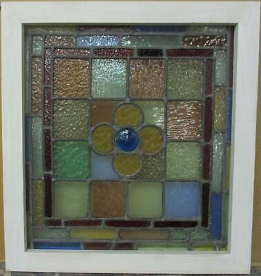 """VICTORIAN ENGLISH LEADED STAINED GLASS WINDOW Pretty Floral Bullseye 18.5"""" x 20"""""""